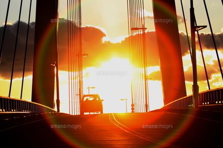 橋と夕日の素材 [FYI00000004]