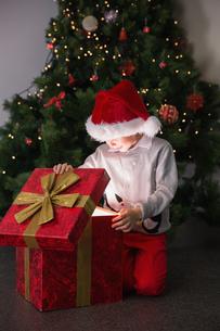 Child opening his christmas presentの素材 [FYI00003551]