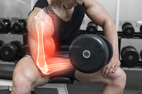 Highlighted arm of strong man lifting weightsの素材 [FYI00006275]
