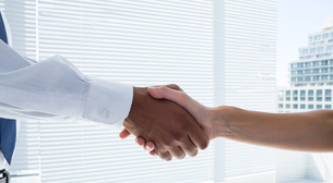 Close up view of two business people shaking handsの素材 [FYI00008349]