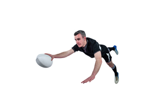A rugby player scoring a tryの素材 [FYI00008674]