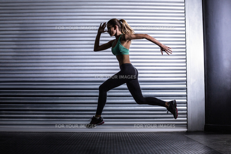 Muscular woman running in exercise roomの素材 [FYI00009062]