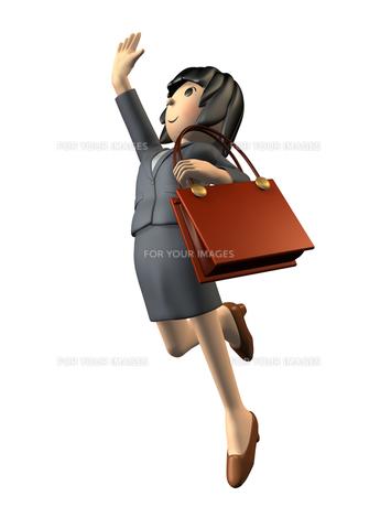 目標に向かってジャンプする女性の素材 [FYI00069027]