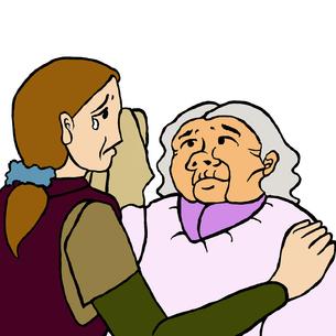 母が娘を判別出来ないために泣く娘とその涙を拭いてあげる高齢認知症の母親の素材 [FYI00112844]