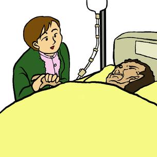 寝たきりで意識の無い夫の手を握り話しかける妻の素材 [FYI00112863]