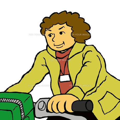 自転車に乗り利用者宅に向かう介護・福祉専門職の素材 [FYI00112875]