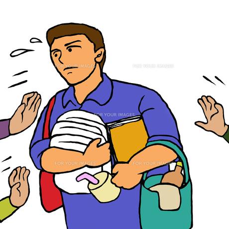 あちこちから用事や介助を頼まれ忙しい施設介護職の男性の素材 [FYI00112881]