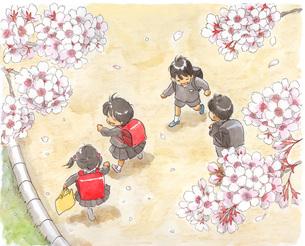 小学生と桜の素材 [FYI00116731]