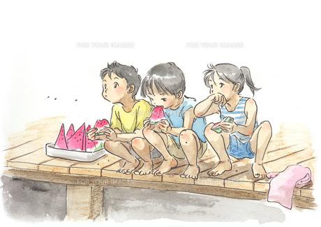 スイカを食べる子供たちの素材 [FYI00116732]