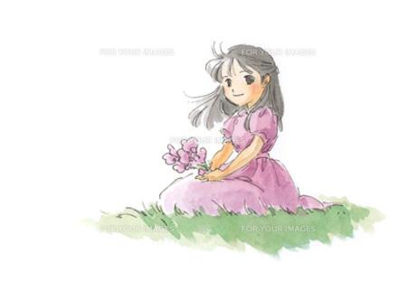 紫色の花と女の子の素材 [FYI00116738]