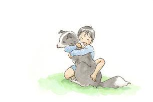犬に抱きつく男の子の素材 [FYI00116745]
