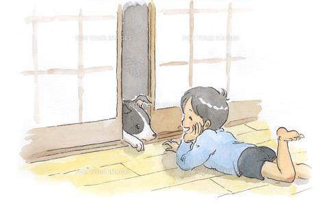 障子越しに遊ぶ犬と男の子の素材 [FYI00116747]