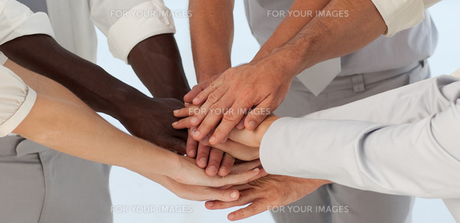 Close up of Business Teams with hands togetherの素材 [FYI00488157]