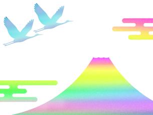 富士山と鶴のイラスト素材 [FYI00542229]