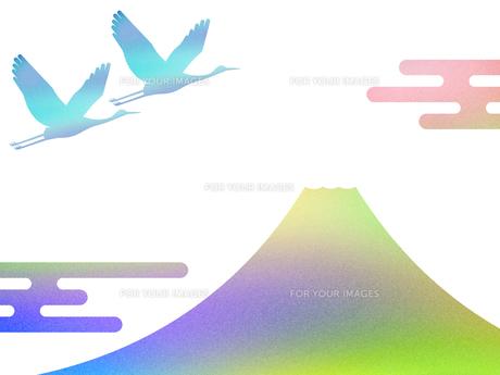 富士山と鶴のイラスト素材 [FYI00542231]