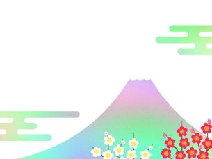 富士山と梅の花のイラスト素材 [FYI00542306]