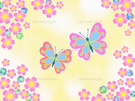 桜の花と蝶のイラスト素材 [FYI00551854]