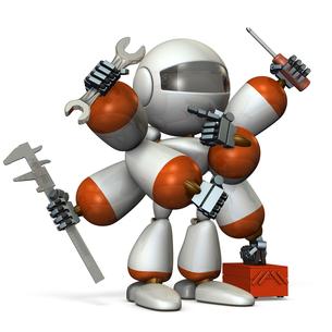 工具を持つロボットのイラスト素材 [FYI00604743]