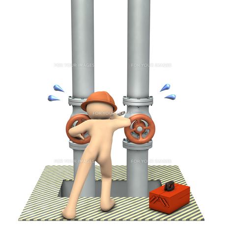 配管の点検をする男性のイラスト素材 [FYI00613999]