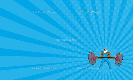 Business card Bald Eagle Weightlifter Lifting Barbell Cartoonの素材 [FYI00648390]