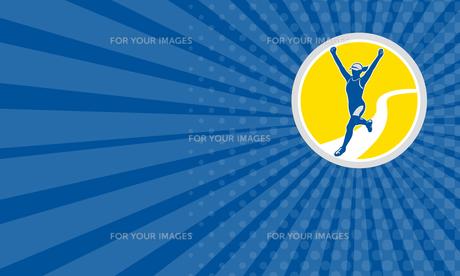 Business card Female Triathlete Marathon Runner Retroの素材 [FYI00653219]