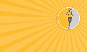Business card Female Triathlete Marathon Runner Circle Retroの素材 [FYI00653229]