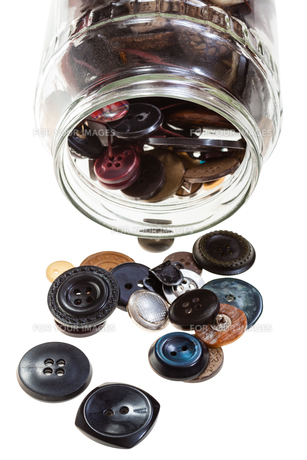 glass jar with buttons isolatedの素材 [FYI00776373]