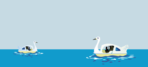 スワンボートに乗って湖で遊覧のイラスト素材 [FYI00894433]
