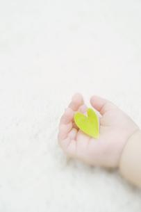 ハート型の葉を持つ赤ちゃんの手の素材 [FYI00934655]