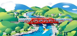 鉄橋をはしる電車のイラスト素材 [FYI00942270]
