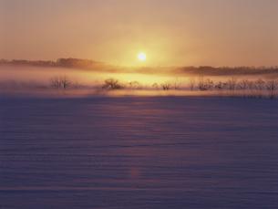 雪原と朝日の素材 [FYI01015497]