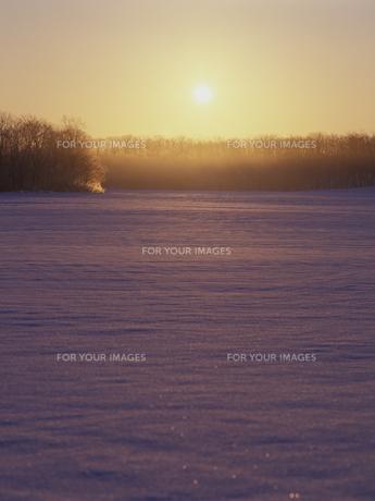 雪原と朝日の素材 [FYI01015627]