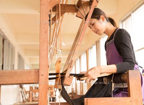 大島紬を織る女性の素材 [FYI01030774]