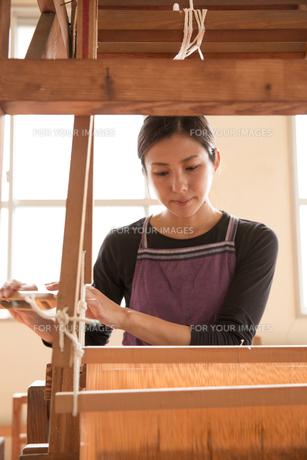 大島紬を織る女性の素材 [FYI01030912]