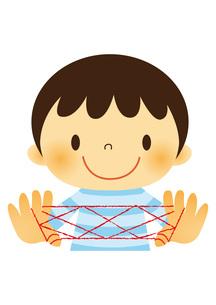 昔遊び(あやとり)をする子どもの素材 [FYI01050443]