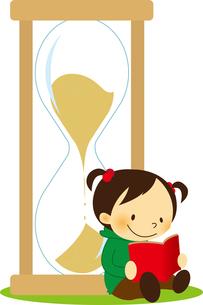 砂時計によりかかって本を読む女の子の素材 [FYI01050527]