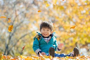 紅葉の公園で遊ぶ男の子の素材 [FYI01075634]
