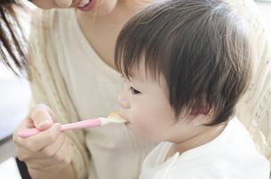 離乳食を食べる男の子の素材 [FYI01077083]