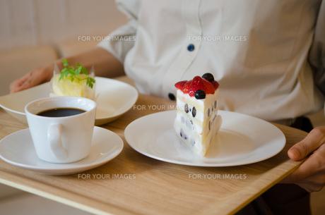 トレイに乗ったケーキとコーヒーを持っている女性の手元の素材 [FYI01077760]
