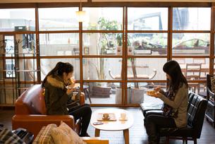 カフェでご飯を食べている親子の素材 [FYI01078753]