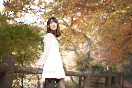 秋の紅葉した公園で立っている女性の素材 [FYI01096528]