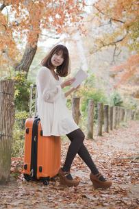 秋の紅葉した公園でトランクに座って本を読む女性の素材 [FYI01096559]
