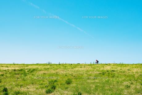 荒川土手を走る自転車の写真素材 [FYI01175230]