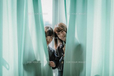 カーテンから顔を出す女子高生2人3の写真素材 [FYI01199611]