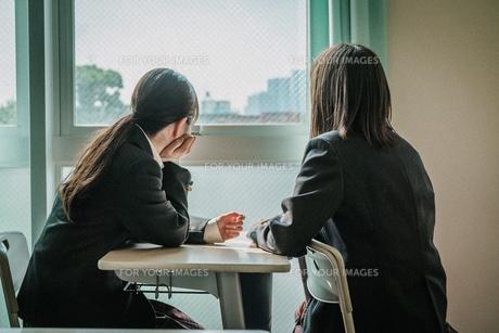 教室から外を見ている女子学生2人6の写真素材 [FYI01199615]