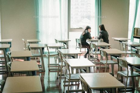 光の差し込む教室で話す女子学生2人3の写真素材 [FYI01199622]
