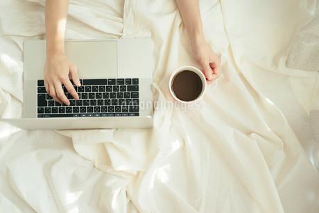 PCのキーボード上に片手を置き、もう片方の手でカップを持つの写真素材 [FYI01216635]