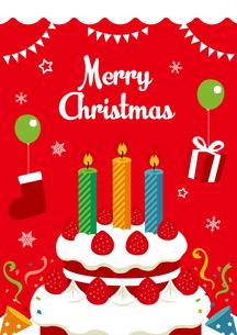 クリスマスカード イラスト(赤)のイラスト素材 [FYI01222133]