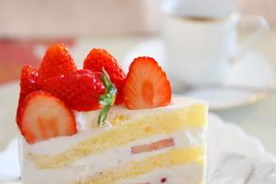 コーヒーとイチゴのショートケーキの写真素材 [FYI01235845]